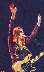 Este Haim performs on stage.<br /> Haim play on stage at Glasgow's O2 ABC on Sauchiehall Street.