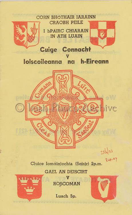 Railway Cup Football Final Replay Programme.Connacht v Universities.St Ciarans Park, Athlone.23.04.1973.23rd April 1973