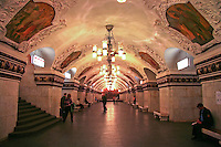 Kievskaya Station, one of the busiest within the Moscow Metro network and an attraction in itself with frescoed ceilings, chandeliers, and marble benches.  What other subway system in the world can boast such beauty and design?  Note the absence of soft drink machines, litter and graffiti.