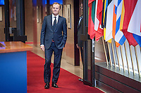 Donald Tusk , the president of the European Council  waits prior to the meeting at European Council headquarters in Brussels, Belgium on 15.12.2014 by Wiktor Dabkowski