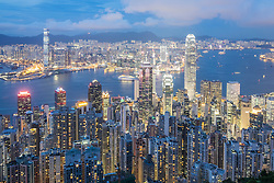 Night skyline of Hong Kong and Victoria Harbour from The Peak on a clear day
