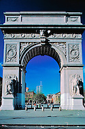 Twin Towers and Washington Square Arch, designed by McKim Mead & White, Washington Square Park, Greenwich Village, New York, New York