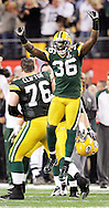 Green Bay Packers' Nick Collins celebrates the Packers holding the Pittsburgh Steelers on a 4th a 5-yard play late in the 4th quarter. .The Green Bay Packers played the Pittsburgh Steelers in Super Bowl XLV,  Sunday February 6, 2011 in Cowboys Stadium. Steve Apps-State Journal.