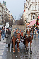 Christmas market and winter in December in Prague Czech Republic