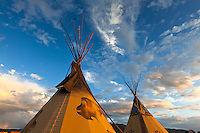Tipis (teepees) painted in ceremonial colors. Taos, New Mexico.