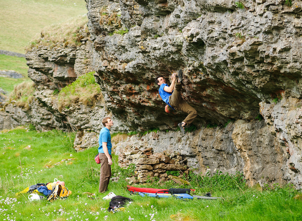 Jon Fulwood climbing new problems at Conies Dale, Peak District