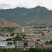 Aerial view of Lhasa, Tibet, now a modern Chinese city. 8/5/05