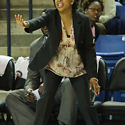 Towson Tigers Women's Head Coach Niki Reid Geckeler instructs her defense in the first half of a NCAA regular season Colonial Athletic Association conference game between Delaware and The Towson Tigers Sunday, Feb 16, 2014 at The Bob Carpenter Sports Convocation Center in Newark Delaware.