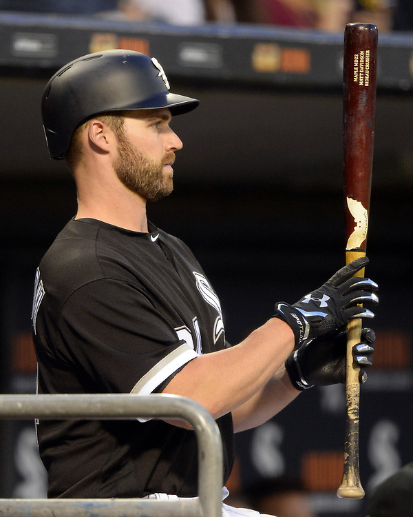 CHICAGO - APRIL 25:  Matt Davidson #24 of the Chicago White Sox looks on against the Kansas City Royals on April 25, 2017 at Guaranteed Rate Field in Chicago, Illinois.  The White Sox defeated the Royals 10-5.  (Photo by Ron Vesely)   Subject:  Matt Davidson