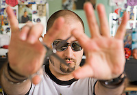 Portrait of Jordan Soriano at Spins Barber Shop, Seattle, WA.