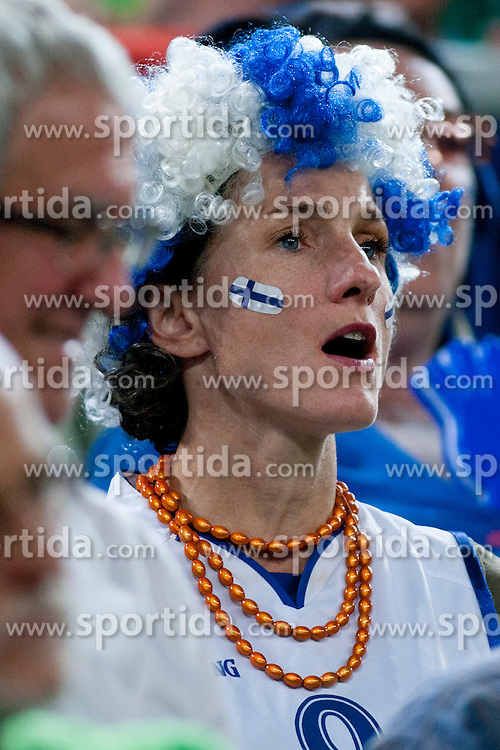 Fan of team Finland during basketball match between National teams of Finland and Slovenia in 2nd Round at Day 13 of Eurobasket 2013 on September 14, 2013 in SRC Stozice, Ljubljana, Slovenia. (Photo By Urban Urbanc / Sportida)
