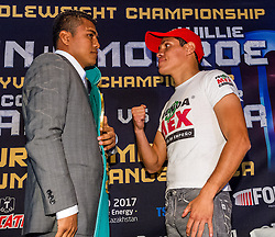 """LOS ANGELES, CA - APRIL 1: Undefeated WBC Flyweight World Champion Roman """"Chocolatito"""" Gonzalez (42-0, 36 KOs), 27, of Nicaragua and #2 Ranked Flyweight Contender Edgar Sosa (51-8, 30 KOs), 35, of Mexico, attend their press conference to announce Gonzalez vs Sosa on May 16, 2015 at the Forum in Los Angeles, California and telecast on HBO Word Championship Boxing beginning at 10:00pm ET/PT. 2015 April 1. Byline, credit, TV usage, web usage or linkback must read SILVEXPHOTO.COM. Failure to byline correctly will incur double the agreed fee. Tel: +1 714 504 6870."""