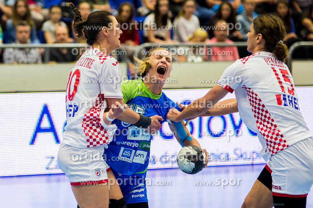 Barbara Lazovic of Slovenia during handball match between Women national teams of Slovenia and Croatia in Round #5 of Qualifications for Women's EHF EURO 2016 Championship in Sweden, on June 1, 2016 in Arena Golovec, Celje, Slovenia. Photo by Ziga Zupan / Sportida