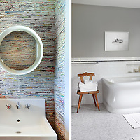 View of Bathroom and bathtub of master bath and sink and mirror in powder room.