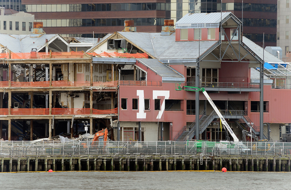 Demolition of Pier 17 View, New York, NY, USA.