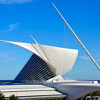Quadracci Pavilion at Milwaukee Art Museum in Milwaukee, Wisconsin<br /> In 2001, the Milwaukee Art Museum&rsquo;s &ldquo;Quadracci Pavilion&rdquo; was completed on the shores of Lake Michigan in downtown Milwaukee, Wisconsin. The unique architecture was designed by Santiago Calatrava. Its external focal point is the beautiful &ldquo;Burke Brise-Soleil.&rdquo; It consists of 217 foot wings that open and close like a giant butterfly twice a day or during excessive winds. The process takes 3.5 minutes to completely move the steel fins.