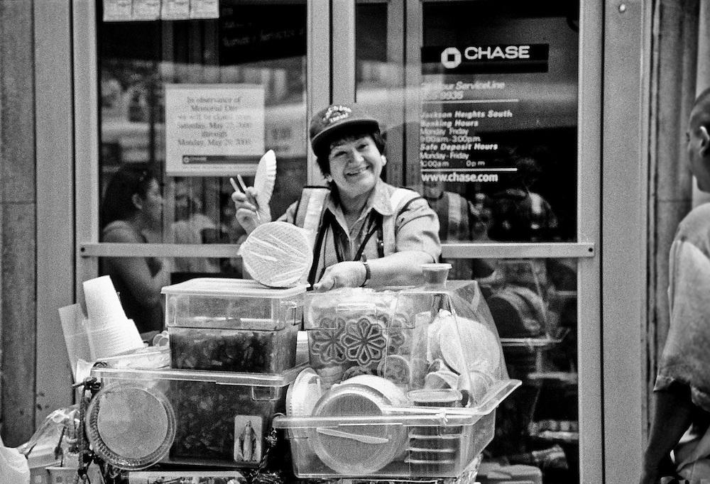 Street Vendor in Jackson Heights Queens New York.