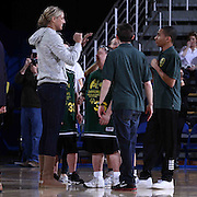 87ers Goodwill Ambassador and WNBA All star Elena Delle Donne (LEFT) speaks with members of the Dragons Basketball team after a friendly game of basketball during half time of a NBA D-league regular season basketball game between the Delaware 87ers and the Erie BayHawk (Orlando Magic) Friday, Mar. 20, 2015 at The Bob Carpenter Sports Convocation Center in Newark, DEL.