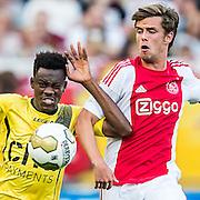 BREDA - NAC - Jong Ajax , Voetbal , Seizoen 2015/2016 , Jupiler league , Rat Verlegh Stadion , 21-08-2015 , NAC Breda speler Divine Naah (l) in duel met Jong Ajax speler Lucas Andersen (r)
