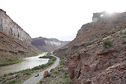 SHOT 5/7/16 8:07:50 AM - Moab is a city in Grand County, in eastern Utah, in the western United States. Moab attracts a large number of tourists every year, mostly visitors to the nearby Arches and Canyonlands National Parks. The town is a popular base for mountain bikers and motorized offload enthusiasts who ride the extensive network of trails in the area. Includes images of Scenic Byway 128, Fisher Towers and downtown Moab. (Photo by Marc Piscotty / © 2016)