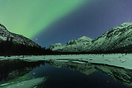 Aurora Borealis bathe the night sky over the Chugach Mountains and a spring fed marsh in Southcentral Alaska. Winter. Evening.