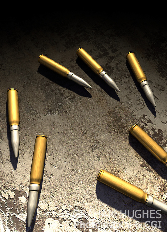 Bullets on concrete surface.