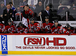 February 1, 2008; Newark, NJ, USA; The New Jersey Devils and Coach Brent Sutter watch the action during the third period at the Prudential Center in Newark, NJ.  The Rangers defeated the Devils 3-1.