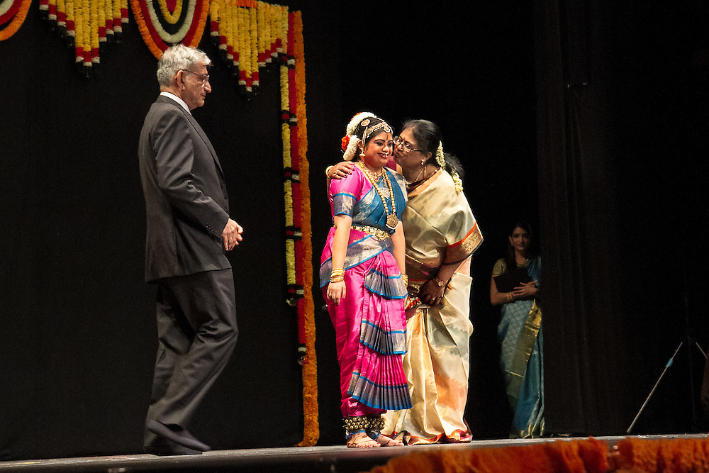 Lincroft, New Jersey, 9/20/14: Ramesh and Gayathri Ramaswamy congratulate their daughter Hema, a young Indian American woman with Down syndrome, after her arangetram, the public presentation of bharata natyam, a traditional South Indian dance form. She studied in preparation for this recital for four and a half years.