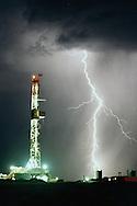 Lightning bolt strikes near  drilling rig, south of Calgary,Alberta