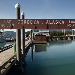 Marina Sign, Cordova, Alaska, US