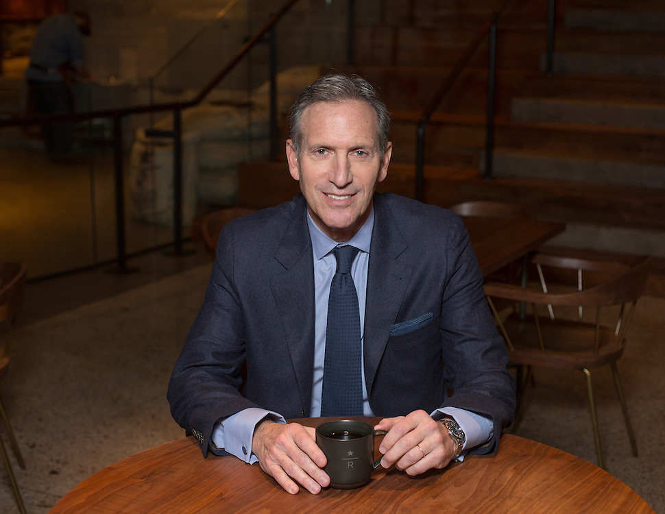 November 28, 2016 - Seattle, Washington, United States: Starbucks chairman and CEO Howard Schultz poses for a portrait at the Starbucks Reserve Roastery and Tasting Room. Schultz is expected to step down on April 3, 2017 to become executive chairman of Starbucks.