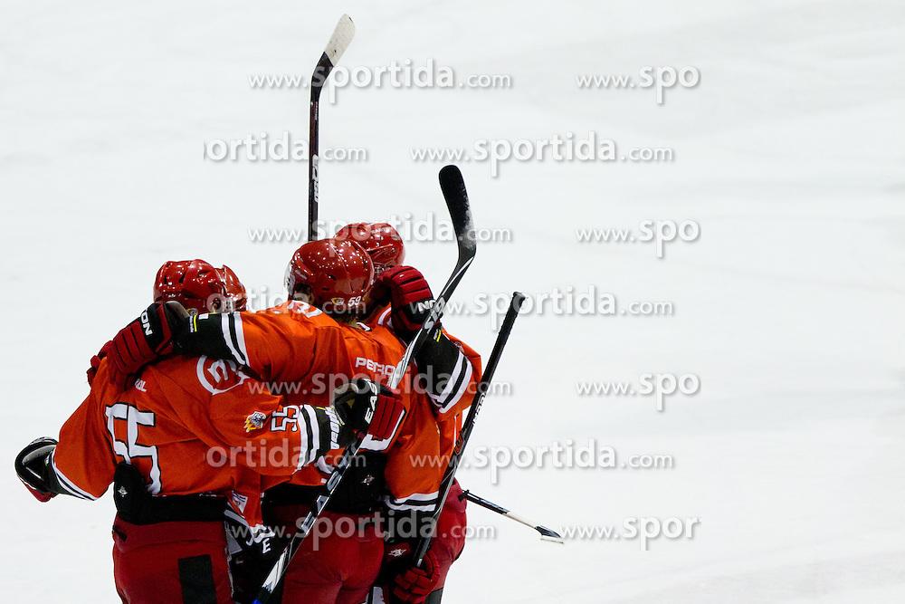 HK Acroni Jesenice celebrate goal during of ice-hockey match between HK Acroni Jesenice and HDD Tilia Olimpija in 13th Round of EBEL league, on October 21, 2011 at Hala Tivoli, Ljubljana, Slovenia. (Photo By Matic Klansek Velej / Sportida)