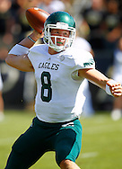 WEST LAFAYETTE, IN - SEPTEMBER 15:  Quarterback Alex Gillett #8 of the Eastern Michigan Eagles throws a pass against the Purdue Boilermakers at Ross-Ade Stadium on September 15, 2012 in West Lafayette, Indiana. (Photo by Michael Hickey/Getty Images)***Local Caption***Alex Gillett