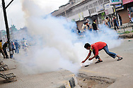 on May 8, 2009 in Srinagar in the state of Jammu Kashmir, India. At least 30 people were injured when Indian police in Kashmir's main city fired teargas shells to disperse thousands of Muslims protesting the general election. Separatists oppose the holding of elections in Kashmir, arguing that they will not resolve the future of the disputed territory, held in part by India and Pakistan but claimed in full by both. Turnout in the Kashmir valley, flashpoint of a two-decade-long insurgency, was as low as 19 percent .