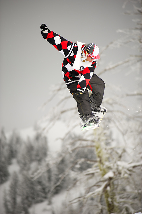 Slopestyle snowboard competition at Bogus Basin.