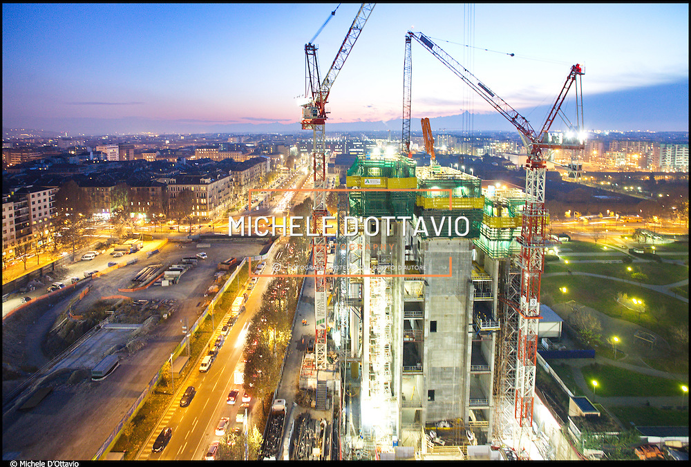 Torino, cantiere del grattacielo Torre Intesa Sanpaolo progettato da Renzo Piano