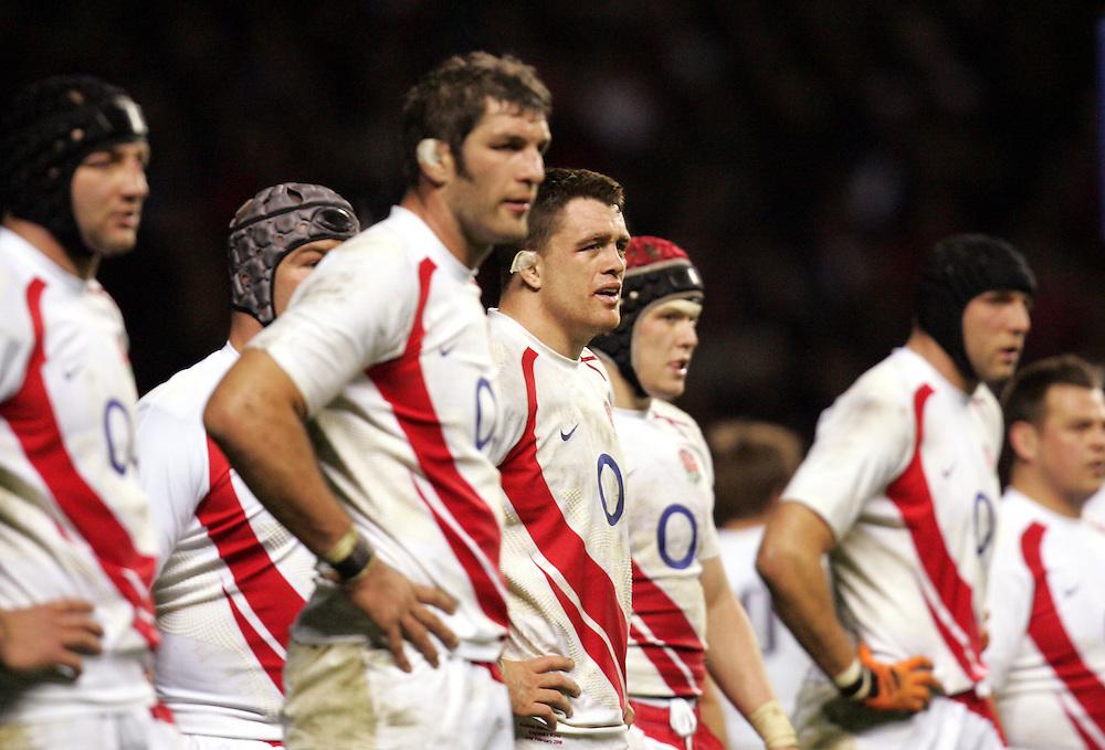 Dejected England players Simon Shaw and Andrew Sheridan. England v Wales, RBS Six Nations 2008, Twickenham, England, 2nd Feb 2008.