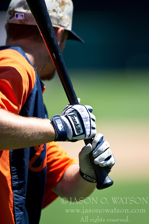 OAKLAND, CA - MAY 26:  Detailed view of Danny Worth #29 of the Detroit Tigers holding a bat with Franklin batting gloves during batting practice before the game against the Oakland Athletics at O.co Coliseum on May 26, 2014 in Oakland, California. The Oakland Athletics defeated the Detroit Tigers 10-0.  (Photo by Jason O. Watson/Getty Images) *** Local Caption *** Danny Worth