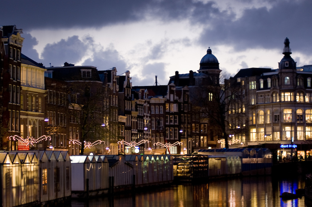 The floating flower market at dusk, Amsterdam, The Netherlands