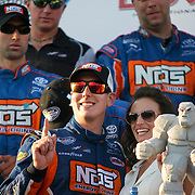 Kyle Busch of the NOS Toyota Team wins The Nationwide Series race at Dover International Speedway in Dover Delaware.