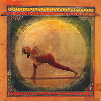 Modern Yogini holding a bound lunge in an ancient illustrated indian room.