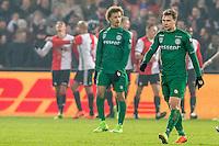 ROTTERDAM - Feyenoord - FC Groningen , Voetbal , Eredivisie , Seizoen 2016/2017 , Feijenoord stadion de Kuip , 11-02-2017 ,  FC Groningen speler Simon Tibbling (r) en FC Groningen speler Desevio Payne (l) balen na de 1-0