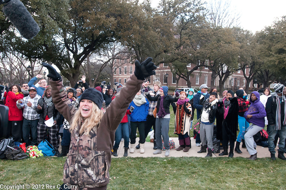 """Jesika Cole, 22, from Kansas City, Mo. is filmed for a production crew while waiting in the early morning cold to audition for """"So You Think You Can Dance"""" at SMU on Friday, Jan. 13, 2012."""