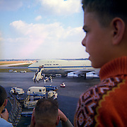 A ten year-old boy looks at the first Pan Am Clipper Boeing 747 that landed at Brussels airport on 6th September 1970.