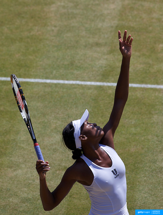 Venus Williams, USA, in action during her Quarter Final Victory over Agnieszka Radwanska, Poland, on Show Court 1 at the All England Lawn Tennis Championships at Wimbledon, London, England on Tuesday, June 30, 2009. Photo Tim Clayton.