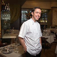 French Chef Pascal Aussignac who owns the Michelin-starred Club Gascon, London, UK. Photographed inside his restaurant in Smithfield, Farringdon, London.