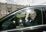 23/6/2006.The Taoiseach Bertie Aherne pictured waving to the crowd at Kilkenny castle yesterday during his visit to the city..Picture Dylan Vaughan.