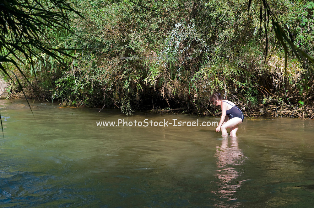 Israel, Upper Galilee, Hazbani River (AKA Snir River) a tributary of the Jordan river. Woman wades in the cool stream. Model Release Available