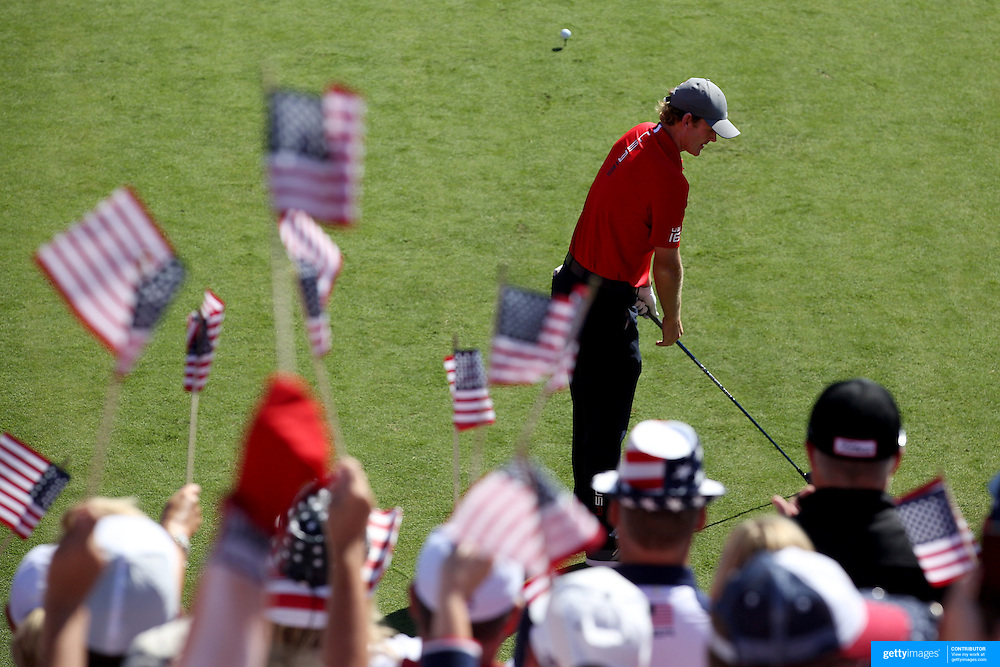 Ryder Cup 2016. Day One. Brandt Snedeker of the United States before teeing off at the first hole in the Friday afternoon four-ball competition during the Ryder Cup at Hazeltine National Golf Club on September 30, 2016 in Chaska, Minnesota.  (Photo by Tim Clayton/Corbis via Getty Images)
