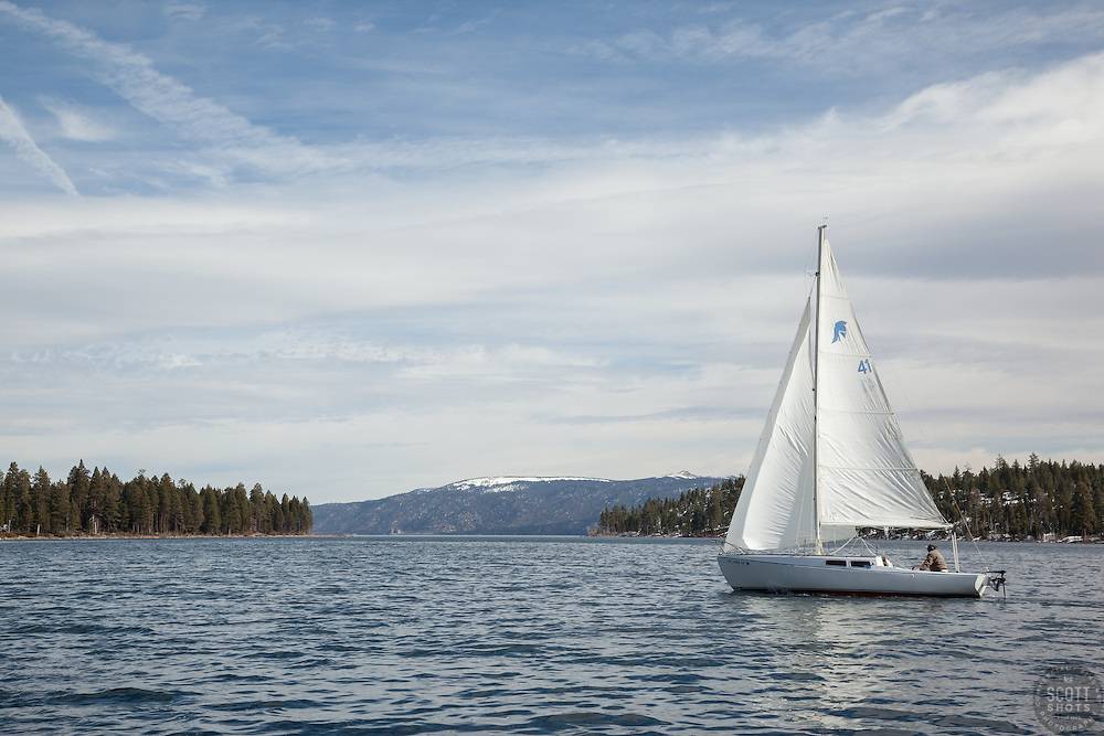 """Sailboat in Emerald Bay"" - This sailboat was photographed sailing in Emerald Bay, Lake Tahoe."